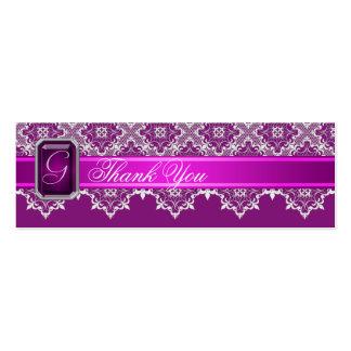 Plum Lace Jeweled Wedding Silver Favor Tag Mini Business Card