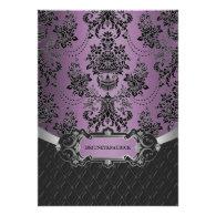 Plum Lapis Purple Black Damask Wedding Invitations
