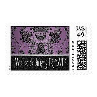 Plum Lapis Purple Black Damask Wedding Postage