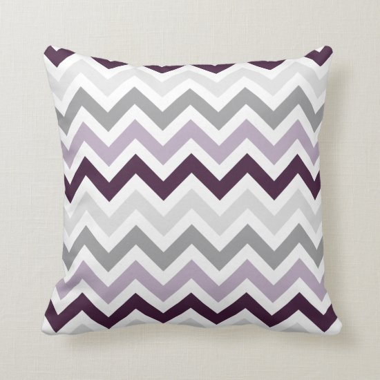 Plum Lavender Gray Chevron Zigzag Pattern Throw Pillow