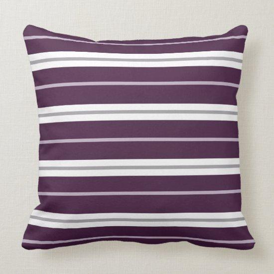 Plum Lavender Gray White Horizontal Stripes  | Throw Pillow