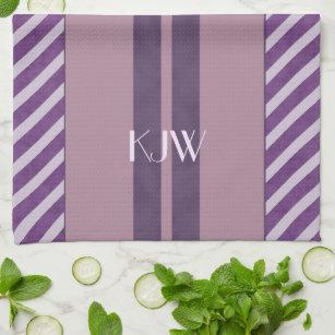 Plum Lavender Mauve Monogram Kitchen Towel