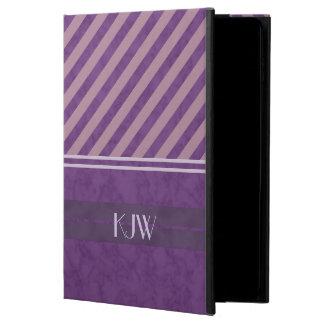 Plum Lavender Mauve Stripes Monogram Powis iPad Air 2 Case