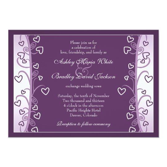Plum Lavender Purple Hearts Wedding Invitation