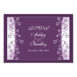 Plum Lavender Purple Hearts Wedding RSVP Card