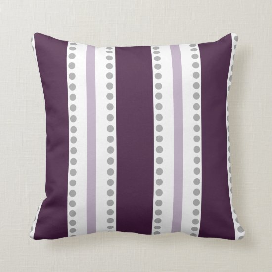 Plum Lavender White Stripes Gray Polka Dots | Throw Pillow