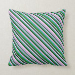 [ Thumbnail: Plum, Light Sea Green, Forest Green, Black & White Throw Pillow ]