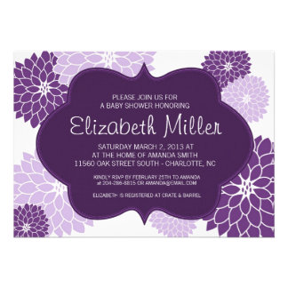Plum & Lilac Purple Bridal or Baby Shower Invite