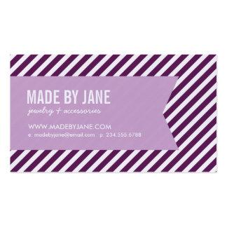 Plum Lilac Purple Modern Stripes Ribbon Business Card Template