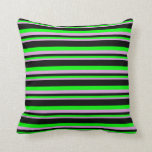 [ Thumbnail: Plum, Lime, and Black Stripes Throw Pillow ]