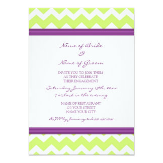 Plum Lime Chevron Engagement Party Invitations