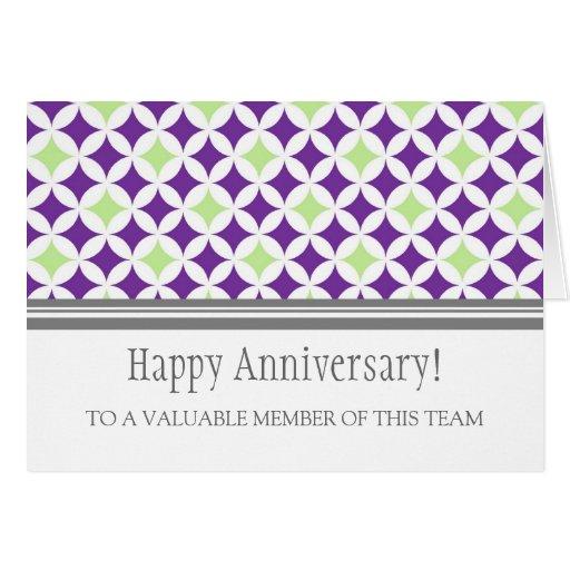 Plum Lime Circles Employee Anniversary Card