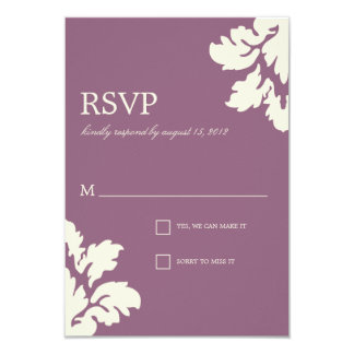 PLUM & LIME  DAMASK | WEDDING RSVP CARD