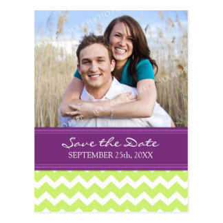 Plum Lime Photo Save the Date Wedding Postcards