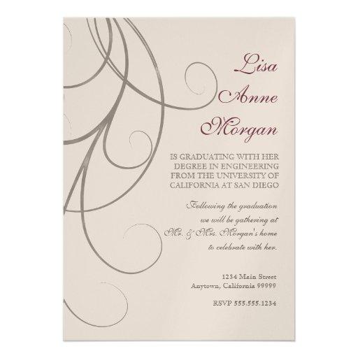 Plum n Silver Leaf Swirl Damask 2 Graduation Personalized Announcement