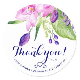 Plum navy blush pink thank you floral wedding classic round sticker