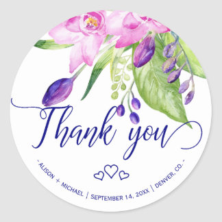 Plum navy pink summer floral wedding thank you classic round sticker