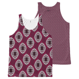 Plum Nouveau Checked Pattern All-Over-Print Tank Top