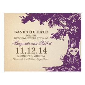 plum old oak tree save the date postcards