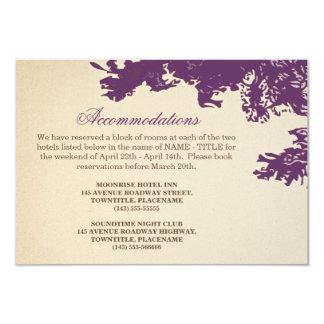 plum old tree vintage wedding accomodation design card