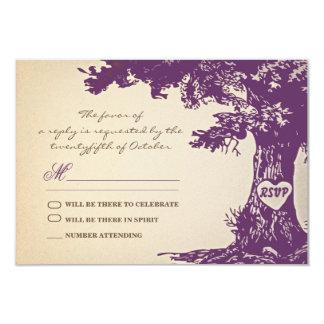 plum old tree vintage wedding rsvp design card