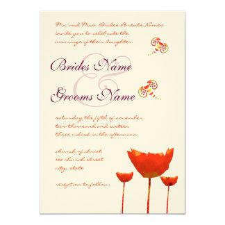 Plum Orange Poppies Butterflies Wedding Invitation