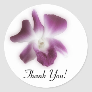 Plum Orchid, Thank You! Classic Round Sticker