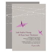 Plum Paper Cranes Fairy Light Asian Wedding Invite