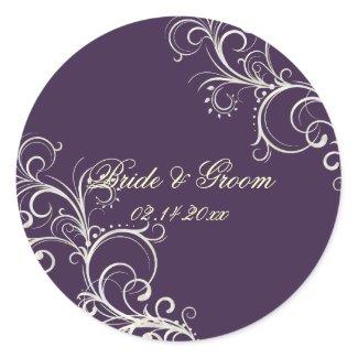 Plum pearl swirls wedding stickers sticker