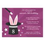 Plum Peek-a-Boo Rabbit Custom Magic Birthday Party Invite