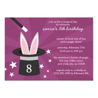 "Plum Peek-a-Boo Rabbit Custom Magic Birthday Party 5"" X 7"" Invitation Card"