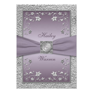 Plum, Pewter Floral Monogrammed Wedding Invite 2