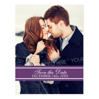 Plum Photo Save the Date Winter Wedding Postcards