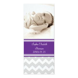 "Plum Photo Template New Baby Birth Announcement 4"" X 9.25"" Invitation Card"