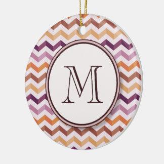 Plum Pink Candy Chevron Stripes and Round Monogram Ceramic Ornament