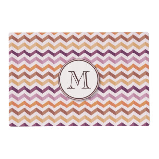 Plum Pink Candy Chevron Stripes and Round Monogram Laminated Place Mat
