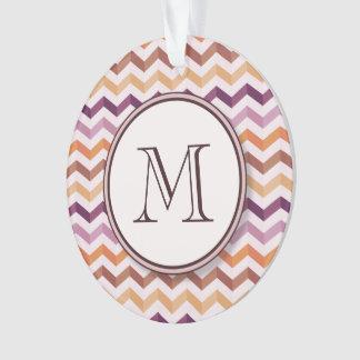 Plum Pink Candy Chevron Stripes and Round Monogram Ornament