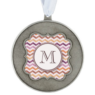 Plum Pink Candy Chevron Stripes and Round Monogram Pewter Ornament