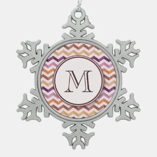 Plum Pink Candy Chevron Stripes and Round Monogram Snowflake Pewter Christmas Ornament