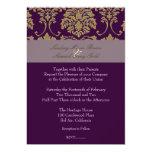 "Plum/plum/faux gold damask 5"" x 7"" invitation card"