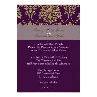 Plum/plum/faux gold damask 5x7 paper invitation card