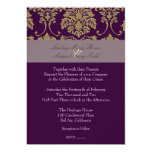 Plum/plum/faux gold damask personalized invites