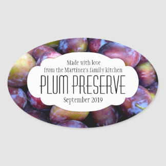 Plum preserve jam or food pickle label sticker