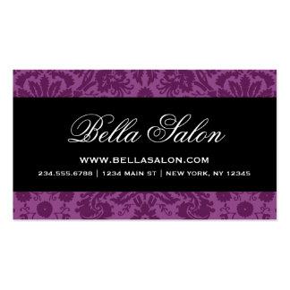 Plum Purple and Black Elegant Vintage Damask Business Card