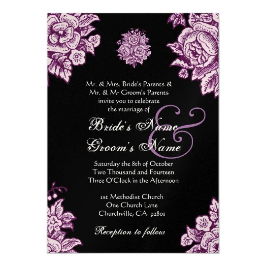 Plum Purple And Black Vintage Flowers Wedding Card