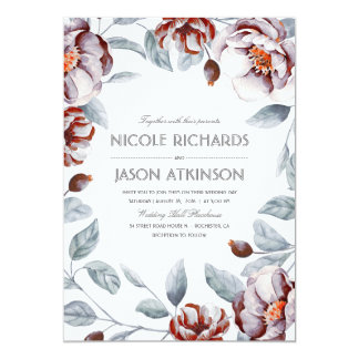 Plum Purple and Burgundy Floral Watercolor Wedding Card