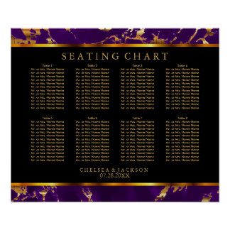 Plum Purple and Gold Marble - 10 Seating Chart