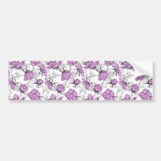 Plum Purple and Gray Vintage Floral Pattern Car Bumper Sticker