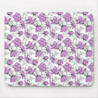 Plum Purple and Gray Vintage Floral Pattern Mouse Pad