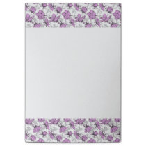 Plum Purple and Gray Vintage Floral Pattern Post-it Notes